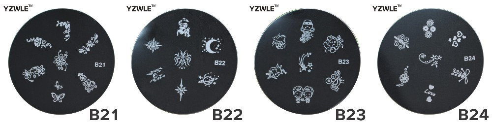 YZWLE 1 Pc Stamping Nail Art Image Plate, 5.6cm Stainless Steel Nail Stamping Plates Template Manicure Stencil Tools (JQ-13)