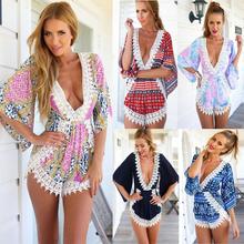 Hot Sale 2015 Summer Women Casual Loose White Lace Floral V-Neck Jumpsuits Rompers Short Pants Plus Size Elegant Jumpsuit S-XL(China (Mainland))