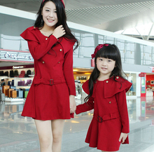 Spring and Autumn Dress Family Fashion Long-Sleeve Dress for Girls & Women (Colors: Navy, Red) FLQ35