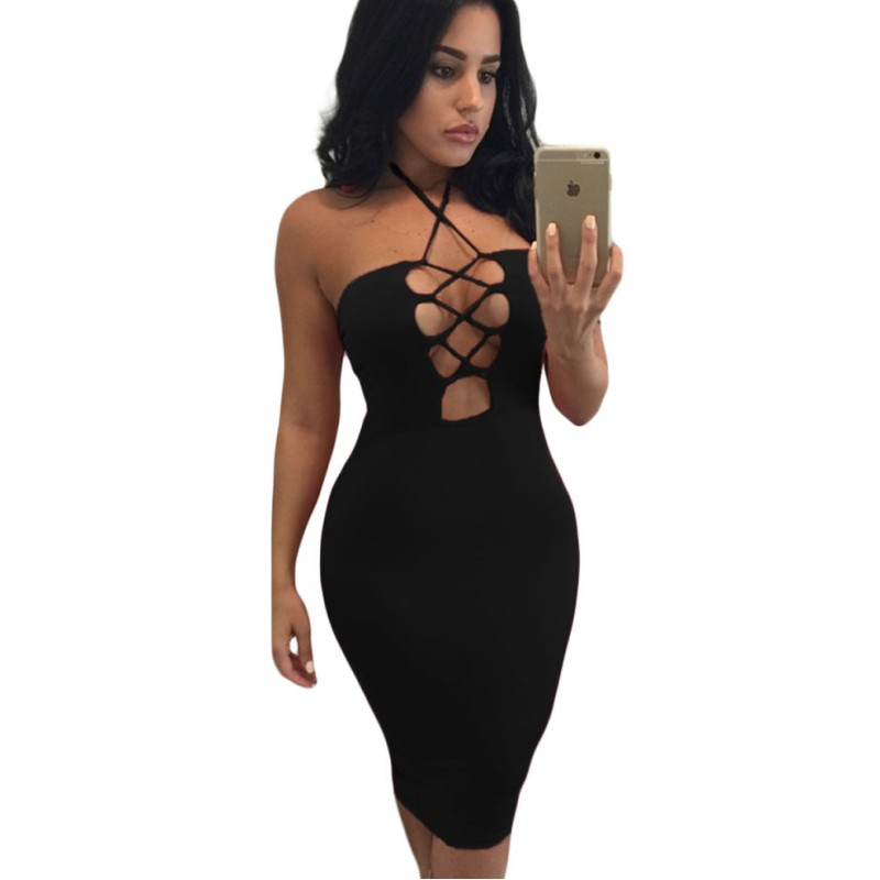 Cheap sexy club dresses 2016 new style summer dress red black halter dress short lace-up bust bodycon midi dress women clothes(China (Mainland))