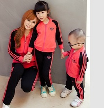 Family Active Clothing Set Parent-Child Set Clothes for Father Mother and Daughter/Son Kids Clothes Set (Blue, Gray, Red) HH006(China (Mainland))