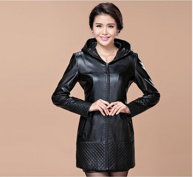 Free shipping 2014 fall and winter clothes new lady leather leather , Ms. long-sleeved and long sections Slim Hooded JacketОдежда и ак�е��уары<br><br><br>Aliexpress