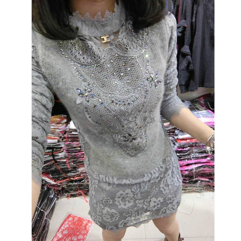 Women's Dresses Spring 2016 Hot Sale Fashion Europe Slim Lace Splice Women Dress Long Sleeve 3 Colors Dress Women S20228