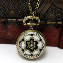 2014 New 1PC Necklace Chain Flower Enamel Pocket Watch W/Battery Bronze Tone 82.5cm Free Shipping p569