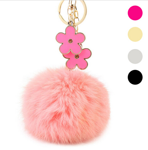 2015 New Personalized Flower Fur Ball Key Chain 18k Gold Plated Keychains Luxury Car Accessories Women Key Rings(China (Mainland))