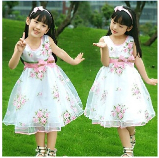 Retail wholesale Kids / Girls Brand Dresses Children Roses Big swing Princess Dress Summer Casual vestidos Free Shipping(China (Mainland))