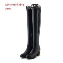WETKISS Plus Size 33-46 PU Phụ Nữ Trên Đầu Gối Giày Mũi Tròn Giày Ren Giày Cao Gót Giày Boot Nữ khóa kéo Giày Người Phụ Nữ Mùa Đông 2020(China)