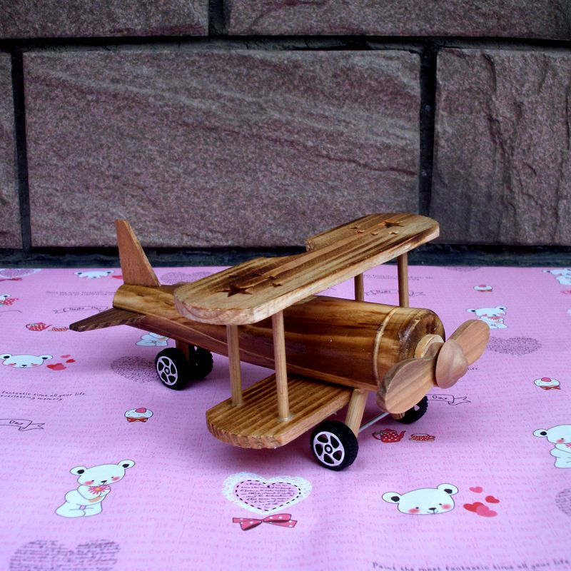 Miniature Model Plane Biplane Vintage Home Decor Gifts For Children Pure Hand-made Wood Products(China (Mainland))