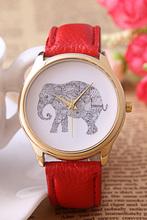 2015 nueva moda para mujer reloj de pulsera impresión del elefante de la PU banda de cuero de la aleación analógico de cuarzo reloj de marcación
