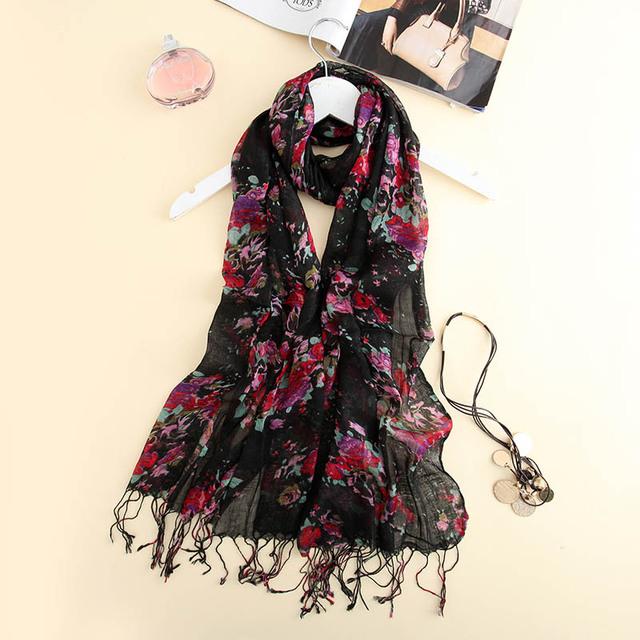 Femme платки шелковый шарф пашмины шали женщины черный цветочные печатных обертывания ...