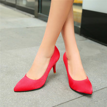 2015 summer new sweety round-toe silksstins simple women pupms high heel women pupms Comfortable and breathable women shoesE2166(China (Mainland))