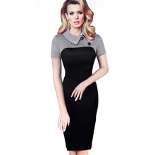 Buy Vintage Long Sleeve Women Dress Patchwork Office Plaid Pattern Plus Size Bodycon Dresses Pencil Elegant Ladies Clothing B238 for $14.81 in AliExpress store