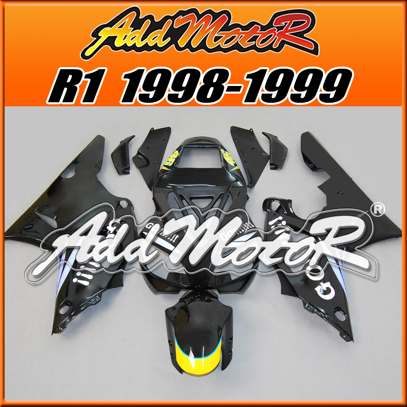 Addmotor Aftermarket Injection Mold Motorcycle Fairing Fit Yamaha YZF-R1 98 99 YZF R1 1998 1999 Body Kit GO!!!!! Black Y1825(China (Mainland))