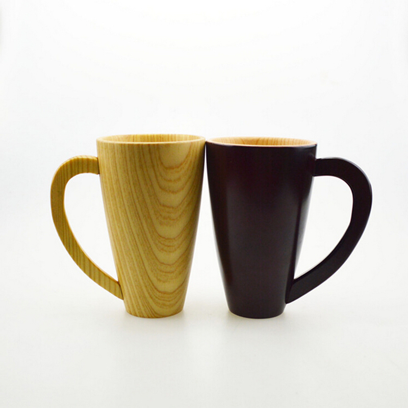 Coffee Mug Exquisite Lovely Eco-Friendly Japanese Tableware Creative Wooden Cups Heat Insulation Vintage Wood Cup With 1 Spoon(China (Mainland))
