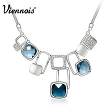 Viennois SilverMagic Cube Muliti Blue Crystal Statement Chain Pendant Necklace For Women Jewelry New Accessories(China (Mainland))