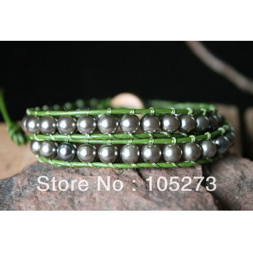 New Arrive Gray Shell Pearls On Green Leather 2x Multi Wrap Bracelet 4mm 14 Handmade Top Quality Wholesale Free Shipping<br><br>Aliexpress