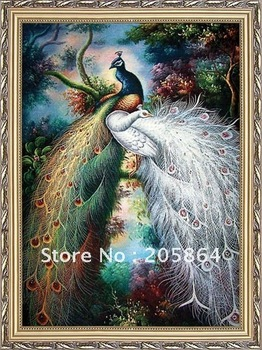 Free shipping factory hot sales gobelin, beautiful peacock fabric picture,size 30x40cm