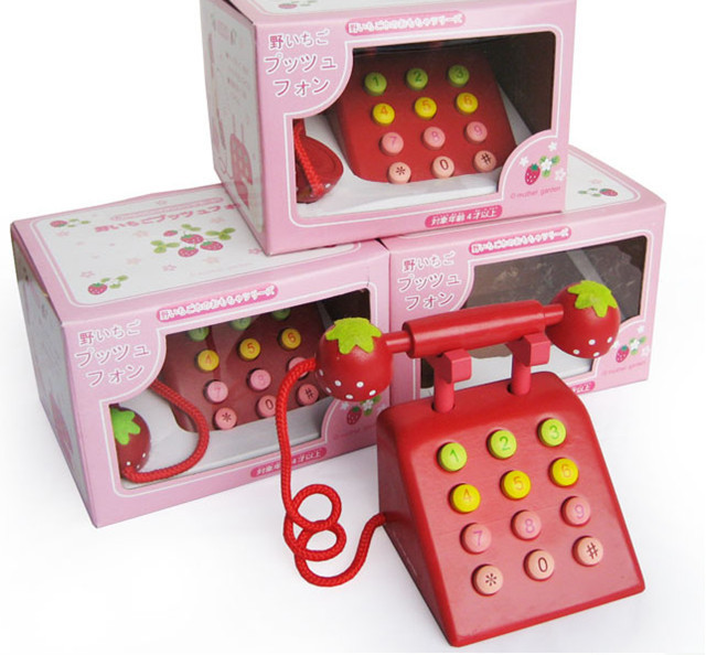 New wooden toy Simulation telephone Red color wood toy Free shipping(China (Mainland))