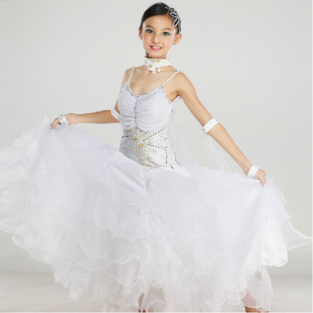 New 2015 High Quality Kids Girls Pink White Waltz Tango Dancing Competition Standard Ballroom Dress Children(China (Mainland))