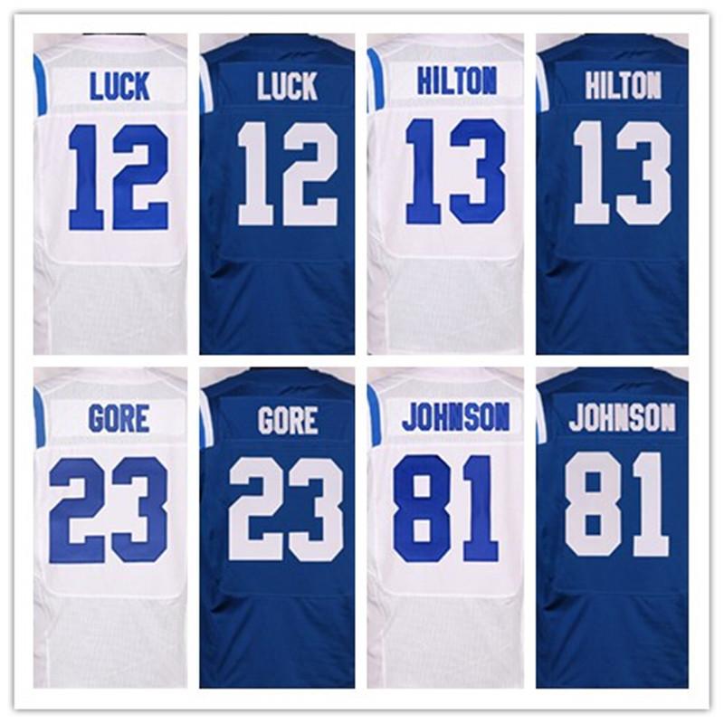 Melhor qualidade jersey, masculina 1 Pat McAfee 12 Andrew Sorte 13 T.Y. Hilton 81 Andre Johnson elite jerseys, Branco e Azul, Tamanho 40-56(China (Mainland))