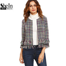 SheIn Women Blazers For Ladies Autumn Multicolor Tassel Hem Collarless Three Quarter Length Sleeve Outwear Fitted Short Blazer(China (Mainland))