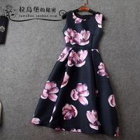 2015 spring and summer fashion print sleeveless basic midguts slim one-piece dress