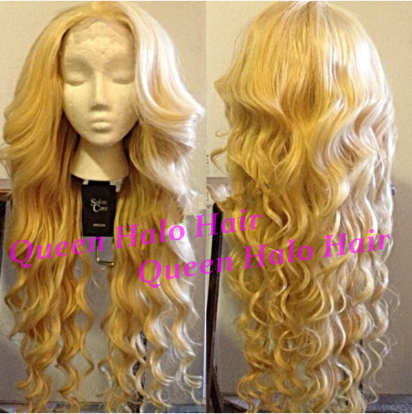 QUEEN HALO HAIR 6A #613 100 braizlian lace wig-910877 super queen hair 100