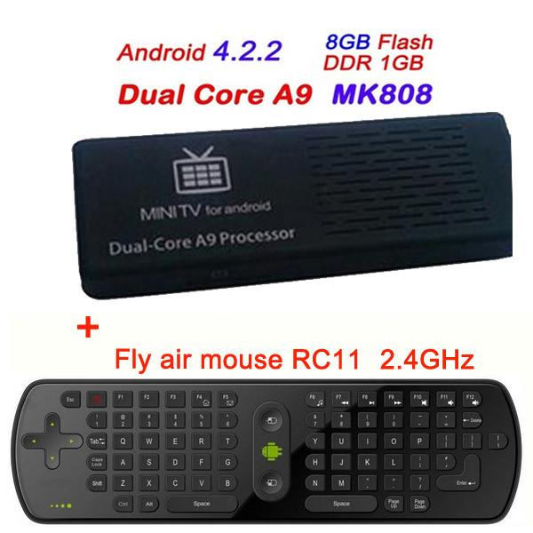 MK808 Dual Core Google Android 4.2 TV Stick Thumb Rockchip RK3066 A9 HDMI 1GB RAM 8GB ROM+2.4GHz RC11 Air Mouse Keyboard(China (Mainland))
