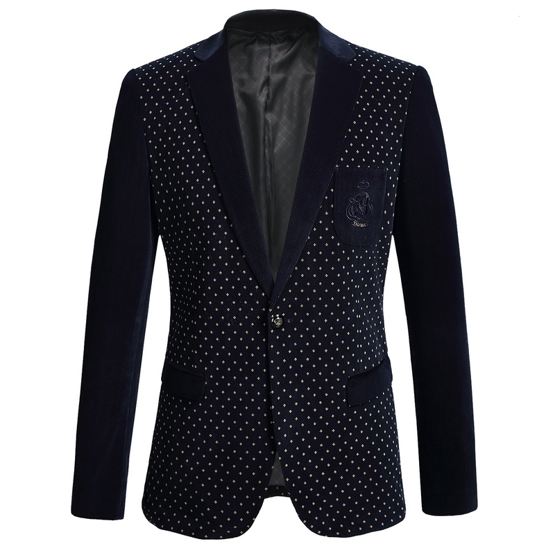 Casual Slim Stylish Fit One Button Suit Men Blazer Coat Slim Rounded Hem Style Flannel Fabric Blue Color 1562Одежда и ак�е��уары<br><br><br>Aliexpress
