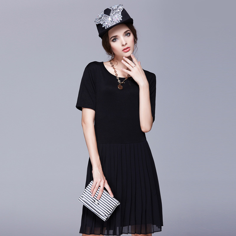 Women new short-sleeved Modal pleated dresses large size chiffon pleated knee-length O-neck L-5XL female dress party dress TT421Одежда и ак�е��уары<br><br><br>Aliexpress