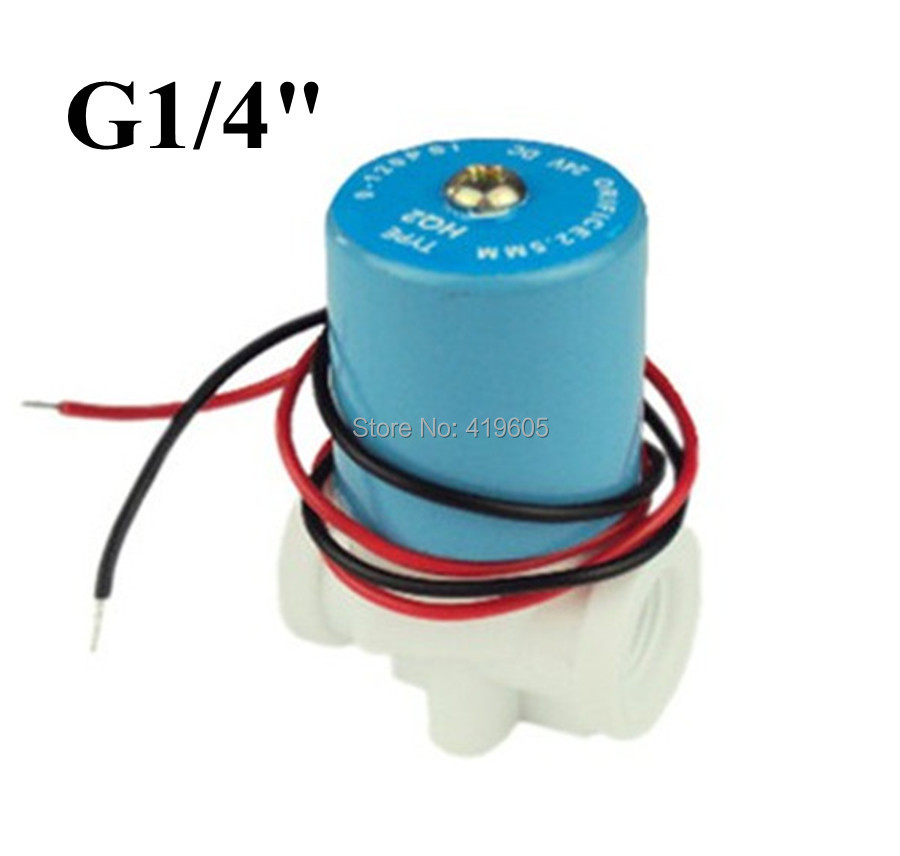 "Free shipping G1/4"" solenoid valve ,Plastic valve normally closed 2 Way 0-120PSI ,12VDC ,(China (Mainland))"