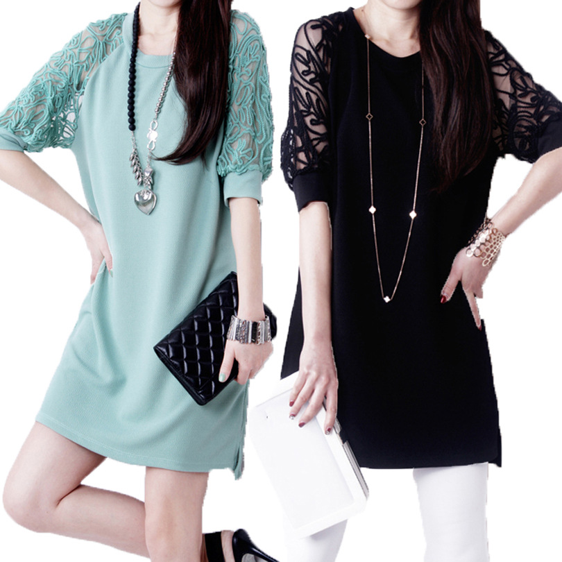 Plus Size Natural Dresses New Promotion Active Solid Half Vestidos De Fiesta 2015 Korean Large Lace Sleeve A-line Dress A(China (Mainland))