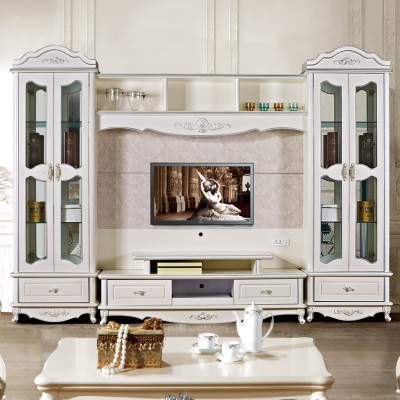 European style TV stand Living Room Furniture carving paint assemble cabinet(China (Mainland))