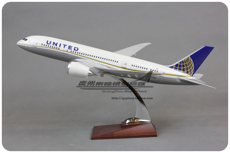 43cm Resin Air American United Airlines Plane Model Boeing 787 B787 Airways Aircraft Airplane Model W Stand(China (Mainland))