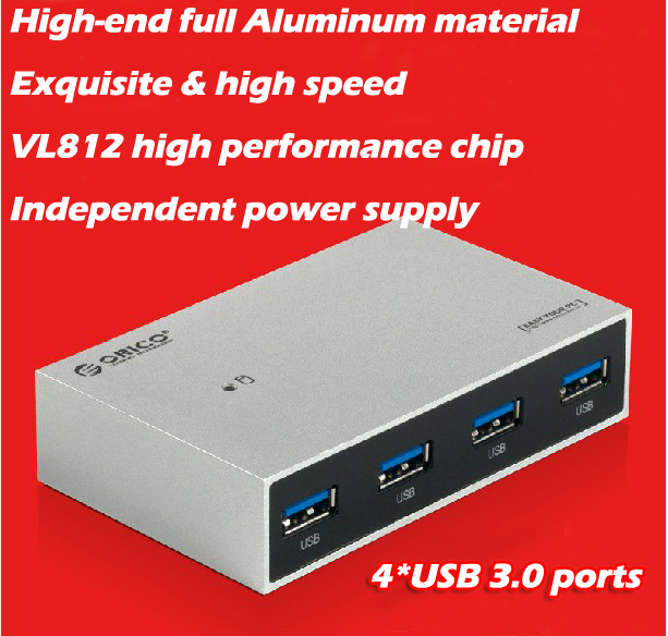 New arrival brand Orico H4999-U3 4 USB port high speed USB3.0 hub with power supply and LED light 3 years warranty free shipping(China (Mainland))