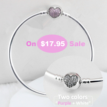 Authentic 925 Sterling Silver Bangle Crystal Heart Clasp Clip Suitable Bangle with Logo Fit Women Pandora Bracelet YW21000(China (Mainland))
