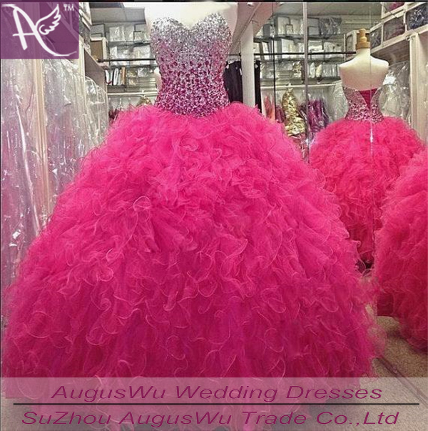 2015 Quinceanera Dresses Gowns Hot Pink Crystal Ball Gown Vestidos De 15 Anos Ruffle Lace Prom Sweet 16 Dress - Augus Wu's Store store