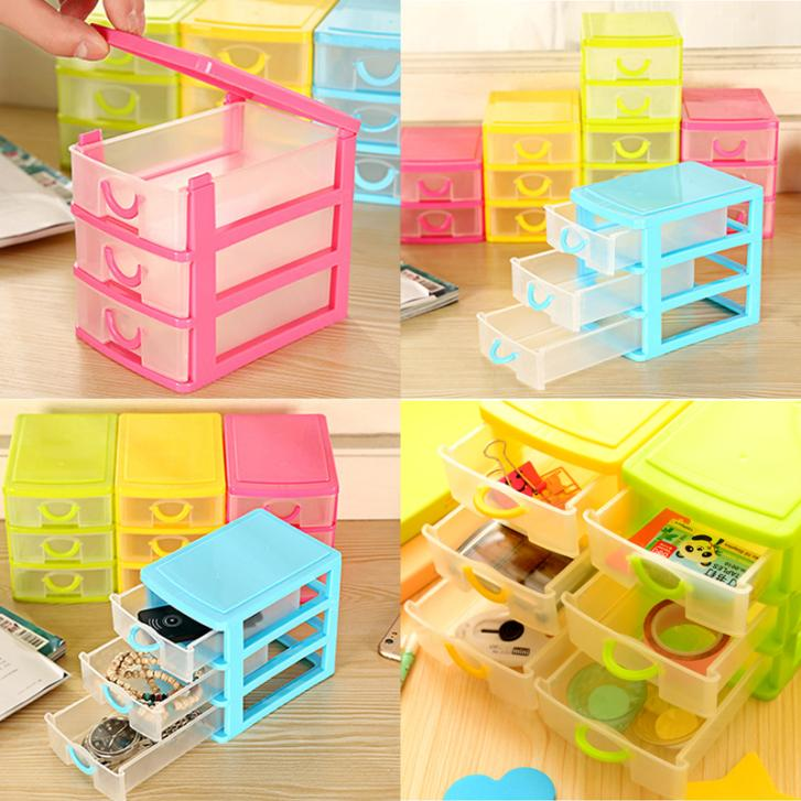 3 Layer Plastic Drawer Mini Desk Draw Storage Box Office Organiser Jewellery Necklace Earring Ring Craft Box(China (Mainland))