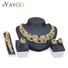 African Beads Jewelry Sets For Women Crystal Necklace Set Fine Earrings Gold Plated Pendant Wedding Dress Accessories