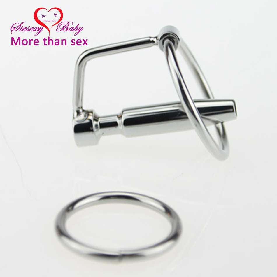 DA-031 45mm Sex Fetish Stainless steel Hollow Urethral Sounding Dilators Penis Plug With Glans Rings Catheters Sex Toys for Men