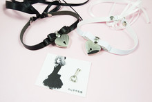Fashion Lace up Safe Heart Lock Key Necklace Punk Goth Handmade Stud Rivet Bowknot Choker Collar