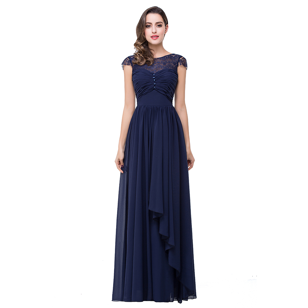 Navy Blue Bridesmaids Dresses With Sleeves : Cap sleeves navy blue chiffon bridesmaid dresses formal