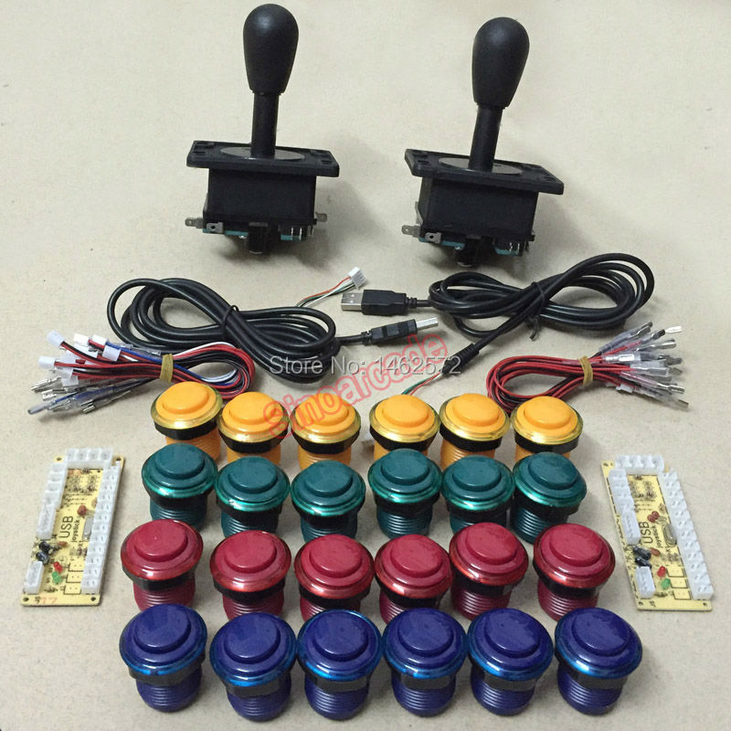 Arcade MAME DIY parts 2 joystick &amp; 24 push buttons &amp; 1 USB encoder for 2 players free shipping<br><br>Aliexpress