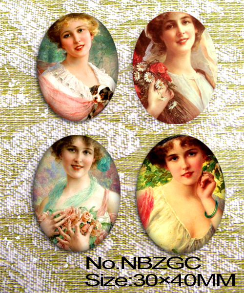 4pcs Oil painting girl Oval Glass Cabochon Cameo for 30x40mm base setting NBZGC(China (Mainland))
