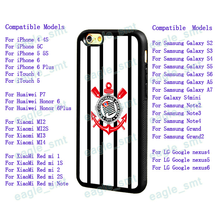 For iPhone 44S 5C 5 5S 6 6Plus Samsung Galaxy S3 S4 S5 S6 A5/7 Note2/3/4 Xiaomi Corinthians Paulista football soccer Mobile Case(China (Mainland))