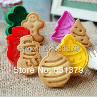 Free shipping New 3D Stamp Christmas tree/Gingerbread man/balloon/snowman Set cake Cookie Cutter Fondant decorating tools