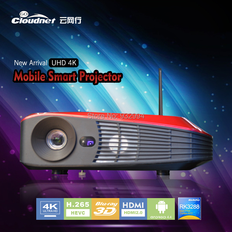 New Arrival Cloudnetgo CR-D2 Super bright ! 2200 Android4.4 WIFI Bluetooth Miracast Full HD 4K Mini 3LED DLP 3D Projector(China (Mainland))