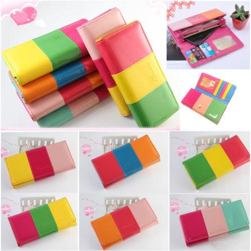 Free Shipping Women's Fashion Candy Leather Wallet Button Clutch Purse Lady Long Handbag Bag(China (Mainland))