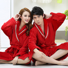 Flannel robe lengthen thickening coral fleece robe lovers bathrobe male women's plus size sleepwear lounge(China (Mainland))