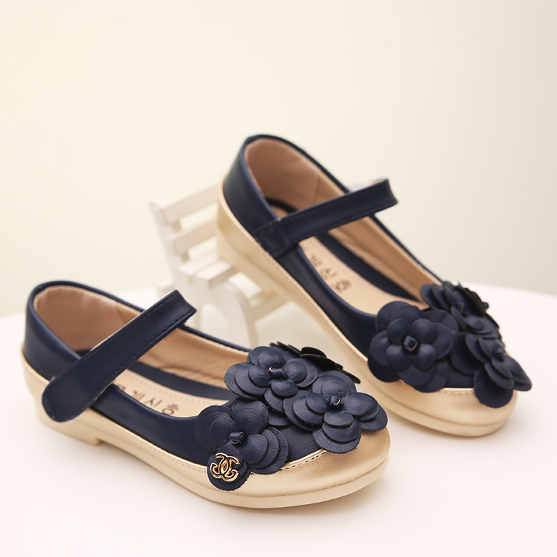 2015 Baby Girls Leather Shoes With Flowers Big Kids Autumn Shoes Black Leather Shoes For Girls Children's School Sneakers 21-35(China (Mainland))